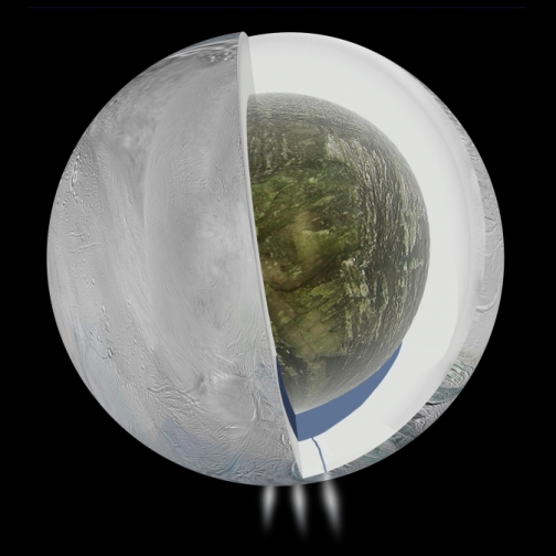 Model depicting the hidden body of water and polar vapor vents on Enceladus. (Image Credit:  NASA/JPL-Caltech)