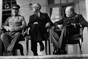 "Pictured left to right, Josef Stalin, President Franklin D. Roosevelt & Prime Minister Winston S. Churchill. ""The Big Three"" at the Tehran Conference of November 1943."