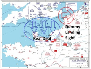 Operation OVERLORD (D-Day) invasion map, indicating dummy landing site at Pas-de-Calais, and the real site in Normandy